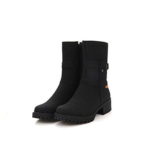 DYF Frauen Schuhe Kurze Stiefel Farbe Größe Scrub Dick Unten Metall, Schwarz, 34