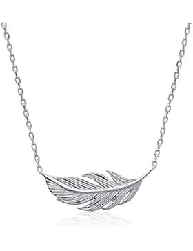 SMERALDO Damen Kette Silber - Feder Edition - 925 Sterling Silber (Länge: 42cm)