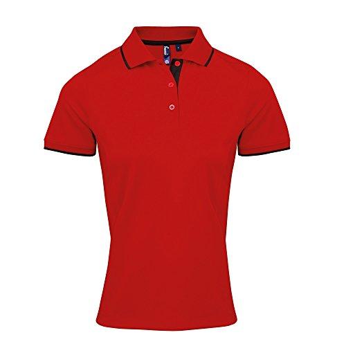 Premier Coolchecker - Polo sport - Femme Rouge/Noir