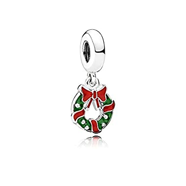 Pandora 796362ENMX Christmas Wreath Pendant Charm Sterling Silver with Green and Red Enamel