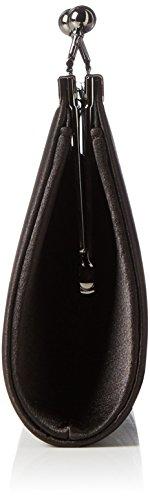 Berydale Damen Satin Handtasche, Clutch Schultertasche mit Zusatzkette und Metallbügel mit Schnappverschluss Schwarz (Schwarz)