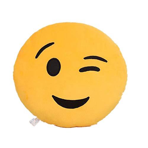 , 32 cm, weich, lustiges Smiley-Emoticon, gefülltes Plüsch-Spielzeug, rund, Kissenhülle ()