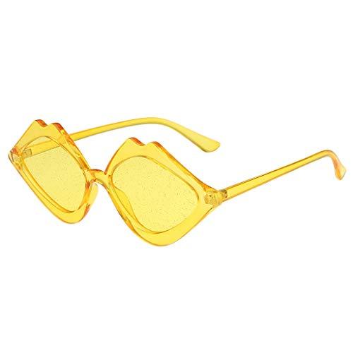 iCerber sonnenbrillen Chic Lässig Einzigartig Damen Mode Jelly Sonnenschutz Sonnenbrille Integrierte Candy Color Brille UV 400 ❀❀2019 Neu❀❀(Gelb)