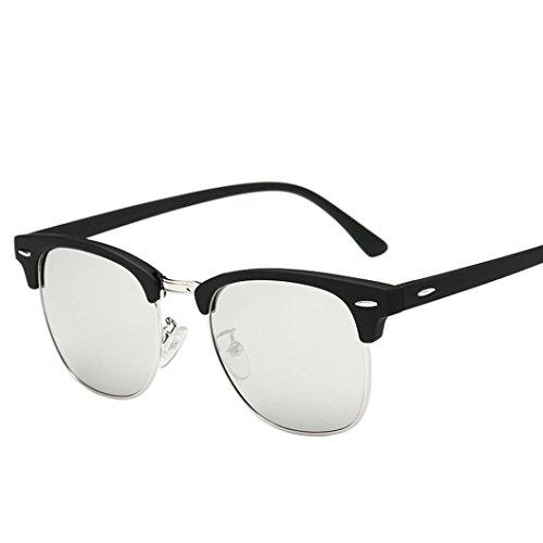 HLHN Herren Damen Vintage Retro Cat Eye Polarisierte klassische Bimodal UV 400 Sonnenbrille (Weiß)