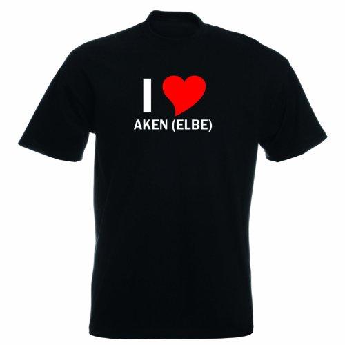 T-Shirt mit Städtenamen - i Love Akenelbe - Herren - unisex Schwarz