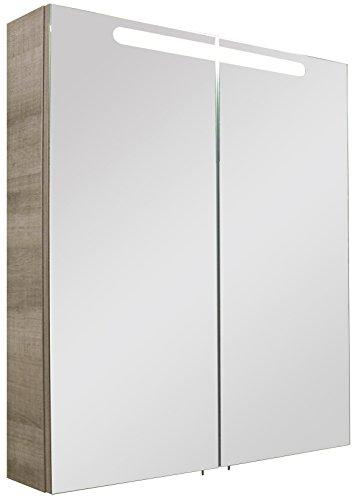 FACKELMANN 82580 Spiegelschrank, Holz, graueiche, Single, 15,5 x 70 x 79,5 cm