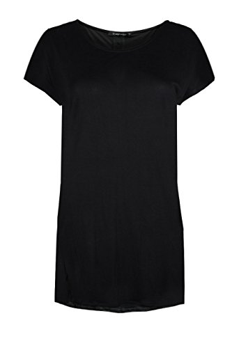 trueprodigy Casual Damen Marken T-Shirt Kleid einfarbig Basic, Oberteil cool und stylisch mit Rundhals (kurzarm & Slim Fit), langes Top für Frauen in Farbe: Schwarz 1073543-2999 Black