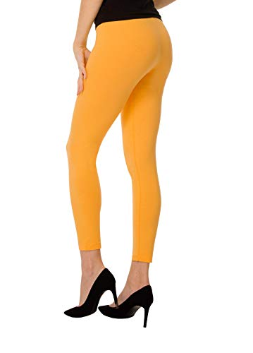 BeComfy Leggings Femme en Coton Longs Opaque Basic Beaucoup de Couleurs S,M,L,XL,2XL,3XL,4XL,5XL,6XL,7XL,8XL (38 - M, Mangue)