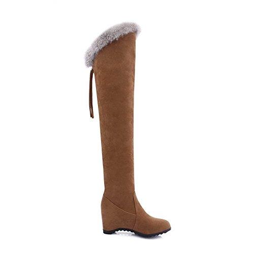 AgooLar Damen Rein Hoher Absatz Schließen Zehe Ziehen auf Stiefel mit Fransig, Knallblau, 38