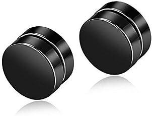 Meenaz Black Metal Round Barbell Magnetic Non -Piercing Stud Earrings For Men And Boys- BALI-M930
