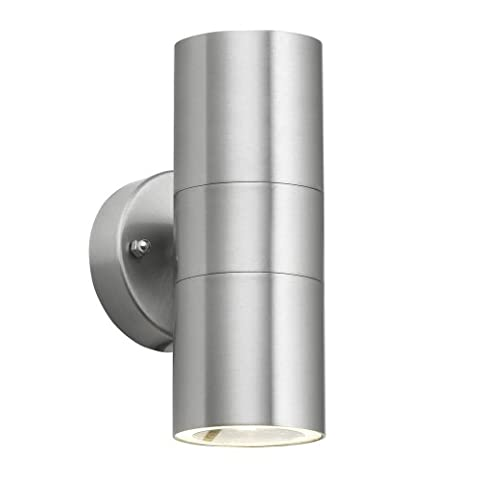 Modern Brushed Chrome Outdoor Garden Up/Down Security Wall Light - IP44 Rated