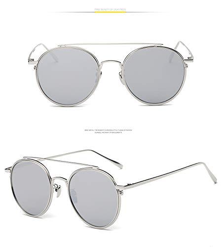 ZJWZ KoreaNische Mode Retro Metal Frame Sonnenbrille Street Shot Reise vielseitig Flache Spiegel Runde Rahmen Sonnenbrille,C4