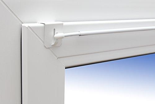Asta allungabile per tende 'Design' 80-120 cm, asta per finestre + 1 paio di supporti, colore bianco, universale per l'installazione sopra la finestra.