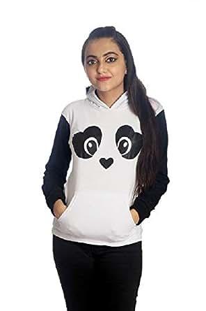 EVOGUESTORE Women's Panda T Shirt with Faux Furr Ball (Multicolour, XS)