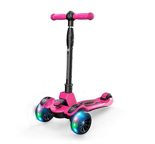 Dreiradscooter Kids Scooters Kick Scooter Dreirad-Roller Mini 3-Rad-Micro-Roller for Kinder Mit Farbigen Lichtern Folding Kick Scooter Im Alter Von 2-12