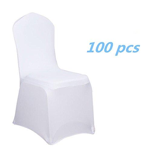nd Stuhlbezüge Stuhlhussen Stretch Acelectronic Stuhlüberzug moderne Stuhl Abdeckung für Hochzeiten und Feiern (100 Stück, Weiß) (Hochzeit Stuhl Abdeckung)