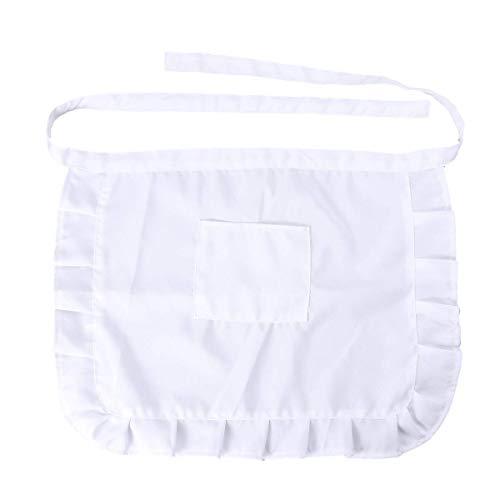 2 Stücke Vorbinder Taillen Schürze Kurze Schürze mit 2 Taschen Halbe Küchenschürze Grillschürze für Kellner Kellnerin Hausmädchen (Weiß) -