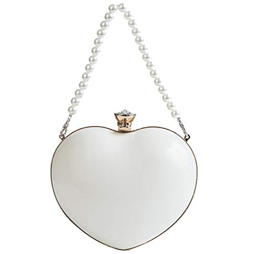 Herzförmiger Tasche (Hunpta@ Crossbody Tasche Handtasche Damen,Umhängetaschen Frauen Perle herzförmige Umhängetasche wasserdichte Diamantkette Taschen Griff Tasche(Weiß))