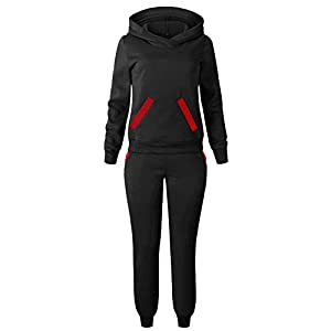 ☺HWTOP Hoodies Sweatshirt Top Hosen Sets Frauen Trainingsanzug Sport Wear Casual Suit