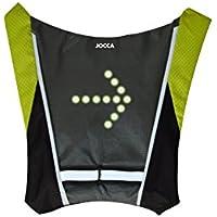 Jocca Chaleco Bicicleta Unisex con indicador de luz LED, Negro/Amarillo, Grande
