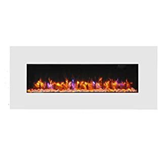 Endeavour Fires Holbeck Wall Mounted Electric Fire, White Flat Glass, 1&2kW, 7 Day Programmable Remote Control (L 1270mm x H 550mm x W 140mm) (White)