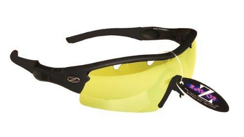 Rayzor professionali leggeri UV400 Nero Sport Wrap ciclismo da sole, con un 1 pezzo trasparente Giallo Lens Migliorare Luce.