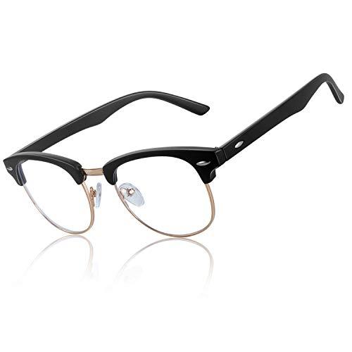 FEIDU Blaulichtfilter Brille -Halbrahmen Brille Herren Computerbrille Damen UV-Schutz Farbwechsel Schutzbrille Gegen Augenermüdung 0 Grad Transparente Gläser FD3031 (Matt-schwarz Blaulicht)