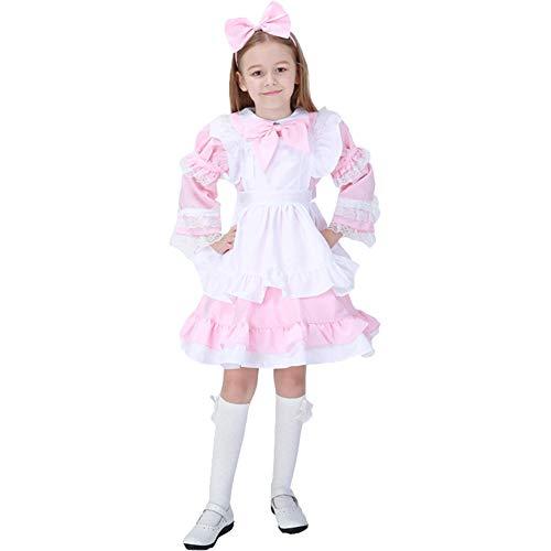 LOLANTA Mädchen Halloween Maid Kleid Kostüm Kinder Mädchen Cosplay Kostüm Uniform (rosa, 146/152)