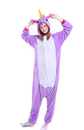 Pyjamas Bekleidung Animal Erwachsene Unisex Schlafanzüge Karneval Onesies Cosplay Kapuzenpullover Spielanzug Kostüme Weihnachten Halloween Nachtwäsche Violett Einhorn