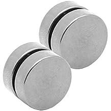 2 Plugs falso Imán pendientes magnético fake plug tunnel piercing 6 mm color plata no agujero de oido
