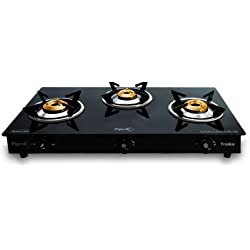 Pigeon Troika Glass-ceramic 3 Burner Gas Stove, Black