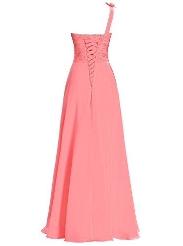 Dresstells Damen Bodenlang Chiffon One Shoulder Brautjungfernkleider Abendkleider Purpur