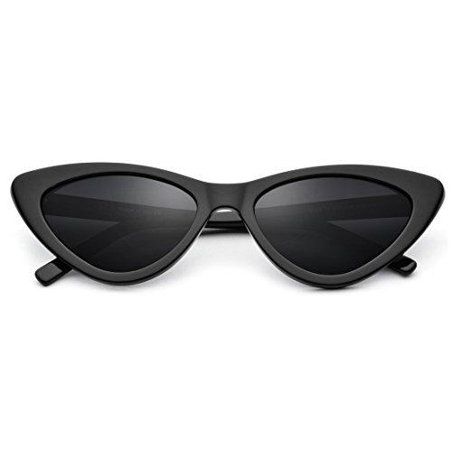 Honneury Frauen Retro Vintage kleinen Rahmen Sonnenbrille dreieckige Brille Retro Cat Eye Sonnenbrille (Farbe : Black Frame/Gray Lens)
