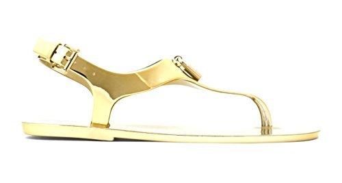 Michael Kors Frauen Split Toe Leger Flache Sandalen Gold Groesse 8 US/39 - Michael Kors Boots