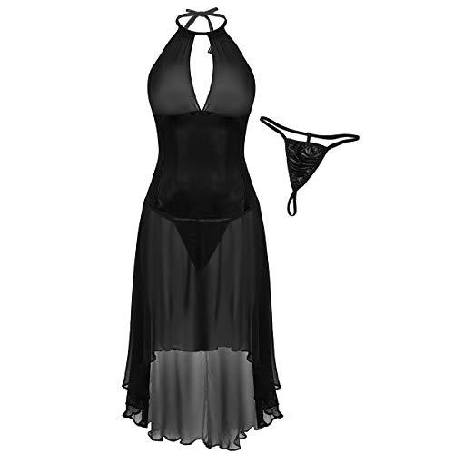 Agoky Damen Neckholder Babydoll Sexy Negligee Kleid mit G-String Transparent Mesh Dessous erotische Nachtwäsche gr. M-4XL Schwarz 4X-Large -