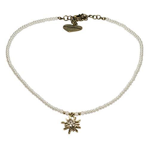 Alpenflüstern Filigran Perlen-Trachtenkette Strass-Edelweiß - Damen-Trachtenschmuck mit antik-Gold-farbenem Edelweiss, Dirndlkette in traditionellen Farben DHK181 (cremeweiss)