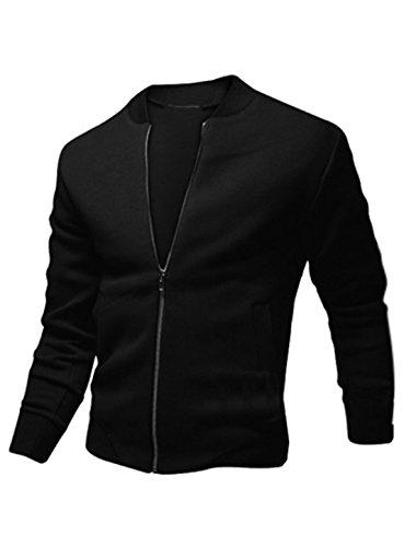 sourcingmap® Herren mit Reißverschluss, lange Ärmel, Stehkragen, Front-Taschen Jacken gerippter Rand (Gerippte Ärmel, Lange Trim)