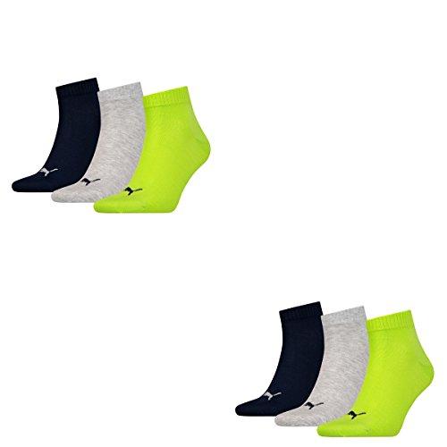 6 Paar Puma Sneaker Quarter Socken Unisex Invisible / schwarz, blau, grau / Art. 251015 (Lime Punch, 39/42)