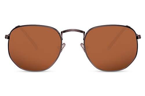 Cheapass Sonnenbrille Rund Braun Kupfer UV-400 Hexagonal Designer-Brille Rund Damen Herren