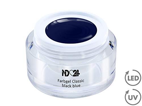 5ml - UV LED FARBGEL - Gel Classic black blue - BLAU Color NagelGel hochdeckend mittelviskos für Nageldesign Modellage - French Nail Art Gel - Studio Qualität - MADE IN GERMANY