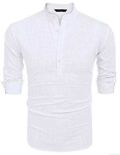 Burlady Herren Hemd Kurzarm Langarm Leinenhemd Kariert Sommer Freizeit Men´s Shirt (M, Weiß-L)