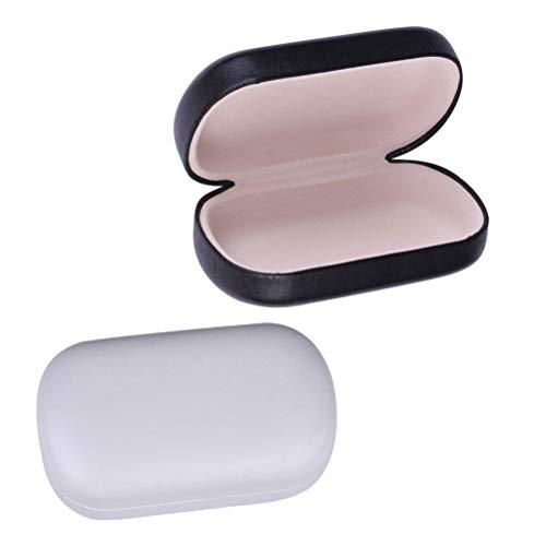 SUPVOX Kontaktlinsenbehälter Tragbare Kunstleder Organizer Etui Aufbewahrungsboxen 2 Stücke (Schwarz und Weiß)