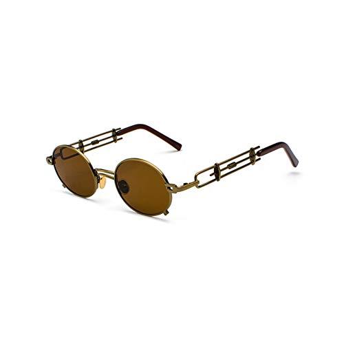 ACKJ Retro Steampunk Sonnenbrille Männer Runde Vintage Metallrahmen Gold schwarz ovale Sonnenbrille für Frauen rot männlich Geschenk, braun