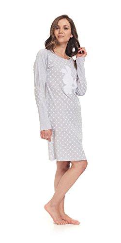dn-nightwear Damen Nachthemd BUNNY mit hohem Baumwolle-Anteil / langarm / Sleepshirt Grau
