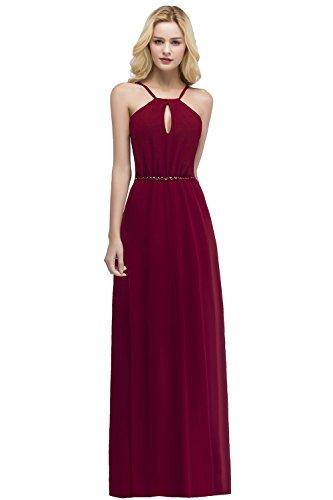 Damen Elegant Neckholder Hochzeitskeid Chiffon Abendkleid Festkleid Rückenfrei lang Weinrot 46