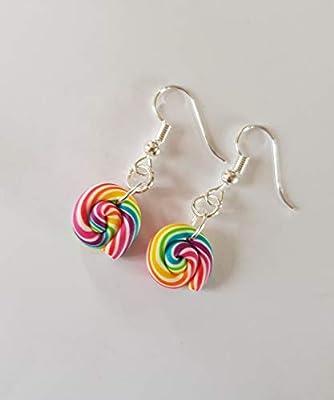boucles d oreilles lolipop sucette multicolore blanc fimo bijou gourmand