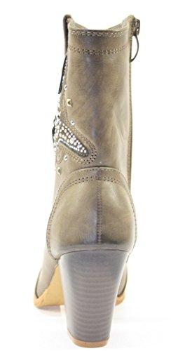 Pantoufles, chaussures pour femme, couleur :  gris avec rivets et strass décoratifs Gris - Gris