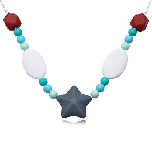 Epinki Beißringe Baby Kette Lebensmittelechtes Silikon Zahnen Anhänger Halskette Stern Design Grau Chewelry Mama Kette 80cm
