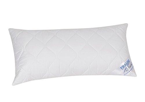 Traumnacht 5-Star Kopfkissen, weiches und bequemes, aus reinem Baumwolle-Satin, 40 x 80 cm, waschbar, weiß