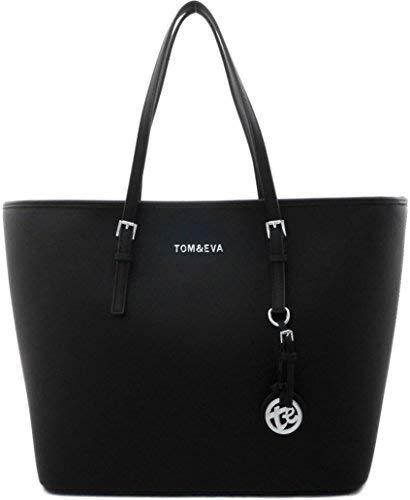 Shopper Tasche Handtasche Schwarz Tom & Eva Schultertasche Neu (Schwarz (silber- farbige Details))